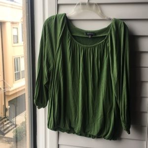 Anne Klein green top with elastic waist